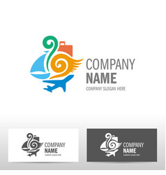 travel logo design with boat and airplane vector image vector image