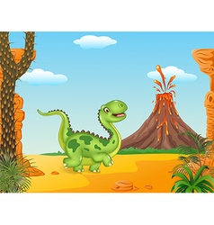 Cartoon funny walking dinosaur vector image vector image