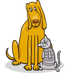 dog and cat in friendship cartoon vector image vector image