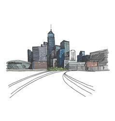 Hong Kong city hand drawn vector image