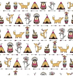 Pattern with american indian animals vector image vector image