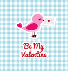 Pink bird with love letter vector image
