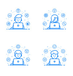 set of blue flat linear and vector image vector image