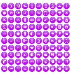 100 dispatcher icons set purple vector