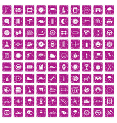100 motorsport icons set grunge pink vector
