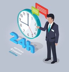 24 hours service and support online with assistant vector