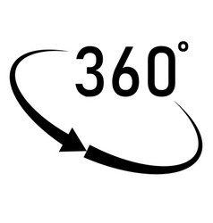360 degrees angle icon in trendy flat style on vector
