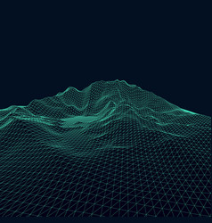 3d abstract wireframe landscape background vector image