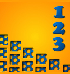 3d origami progress template with numbers vector
