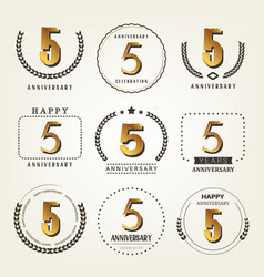 5 years anniversary logo set vector image