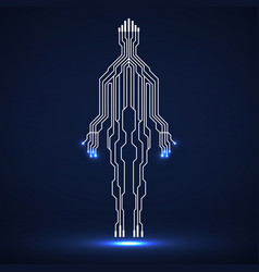 abstract neon silhouette man vector image
