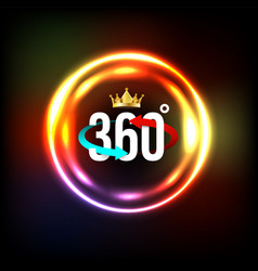 angle 360 degrees sign with circle light vector image