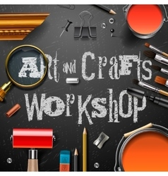 Art and crafts template with artist tools vector