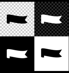 banner ribbon icon isolated on black white and vector image