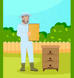 beekeeper wearing protection suit hold a vector image