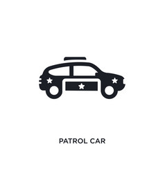 Black patrol car isolated icon simple element vector