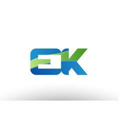 blue green ek e k alphabet letter logo vector image