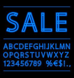 Blue neon linear alphabet vector