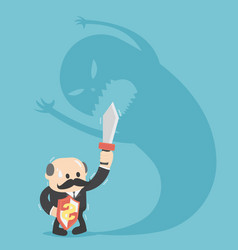 businessman fighting with scary shadow vector image