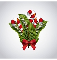 Candy leaves and bowtie icon Merry Christmas vector image