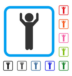 child hands up framed icon vector image