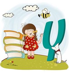 children alphabet letters y vector image