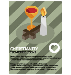 christianity color isometric poster vector image