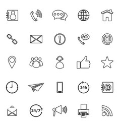 Contact us line icons on white background vector