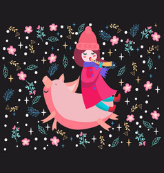 cute girl playing flute and riding piggy vector image