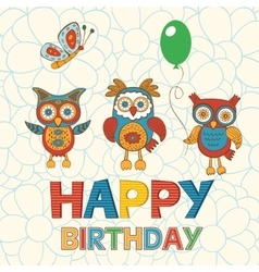 Cute Happy Birthday card with happy owls vector image