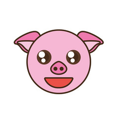 Cute pig face kawaii style vector