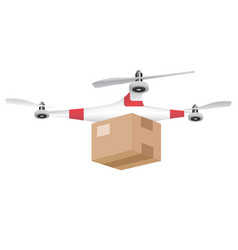 delivery drone with the package isolated on white vector image