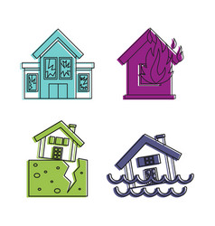 destroyed house icon set color outline style vector image
