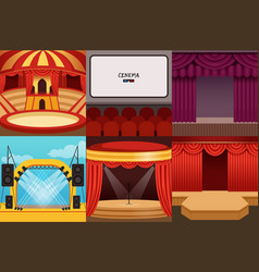 Different colorful cartoon stages set vector