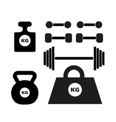 dumbbells silhouette monochrome set of weights vector image
