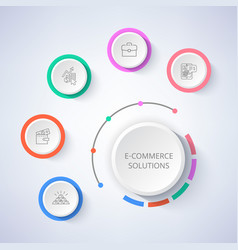 E-commerce solutions set icons money in wallet vector