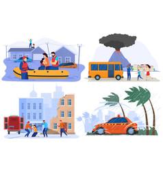 Emergency evacuating people from natural disasters vector