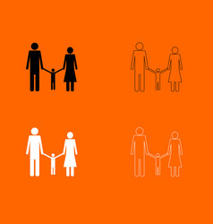 Family black and white set icon vector