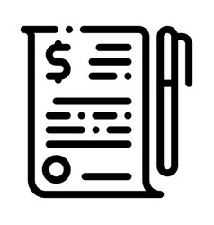 Financial document file agreement pen icon vector