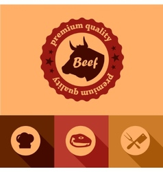 flat beef design elements vector image