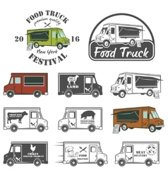 Food truck street festival emblems and logos set vector image