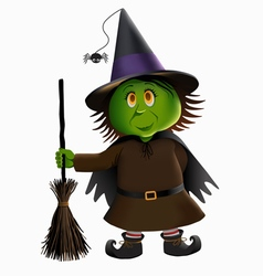 Green Witch and Broomstick vector