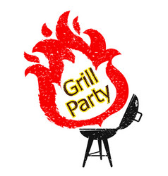 grill and tongues fire vector image