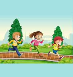 Group of girl ranning in park vector