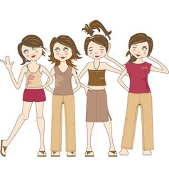 Group of young women vector