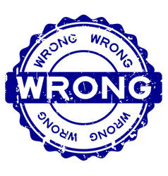 grunge blue wrong word round rubber seal stamp on vector image
