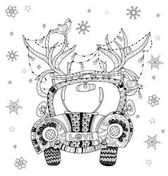 Hand drawn doodle outline holiday car vector image