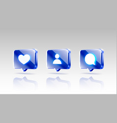 Hand like and chat icons set sign follower 3d vector