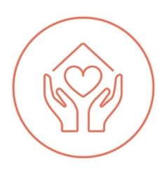 Hands holding house symbol with heart shape line vector