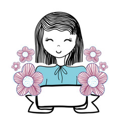 Happy woman with flowers and ribbon vector